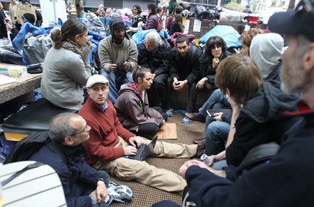Occupy Wall Street: One of the various working groups that meet throughout the day to discuss plans