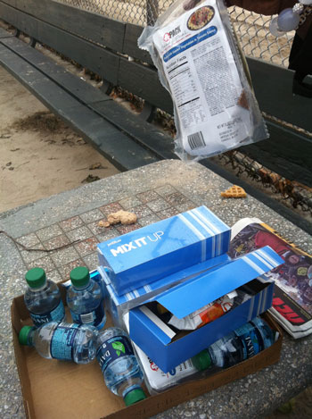 Food snacks issued to hungry people a Coney Island, Brooklyn, in wake of Hurricane Sandy