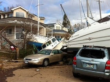 Hurricane Sandy - Boat in houses on Staten Island