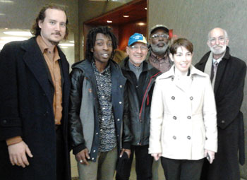 Morgan Rhodewalt, Jamel Mims, Bob Parsons, Carl Dix, defense attorney Meghan Maurus and defense attorney Marty Stolar at Queens Criminal Court, November 15, 2012.
