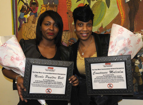 Nicole Paultre Bell (left), fiancé of Sean Bell killed by the NYPD in 2006, and Constance Malcolm, whose son Ramarley was killed earlier this year, receiving their Freedom Fighters awards.