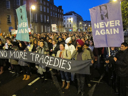 Protest against death in Ireland