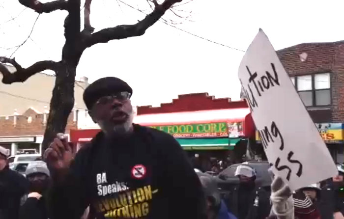 Carl Dix speaks at the March 24, 2013 protest against the murder by the New York police of 16-year-old Kimani Gray.