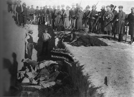 Victims of the 1890 massacre at Wounded Knee, where the U.S. Seventh Cavalry killed as many as 300 Lakota Indians, including children.