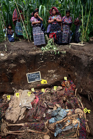 mass grave of people massacred by the Guatemalan army in 1982