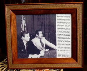 Photo of Ríos Montt with U.S. President Ronald Reagan from 1983, seen in Rios Montt's living room, Guatemala City, 2003.
