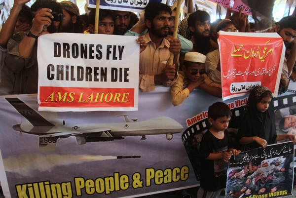 Protest in Lahore, Pakistan against U.S. drone attacks July 2013. Photo: AP
