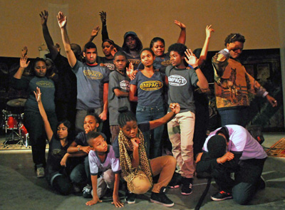 Member of Impact: a youth arts organization in Harlem that combines art and activism.