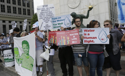Water protest in Detroit. AP photo