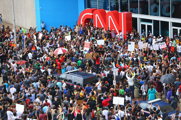 Protest in Atlanta against Michael Brown murder and CNN coverage
