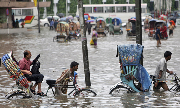 Bangladesh flooded during monsoon season.