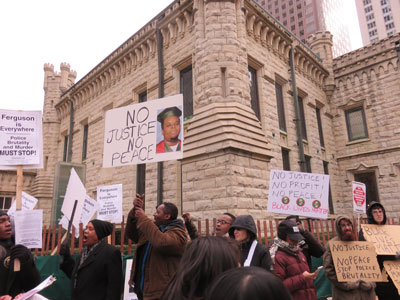 Chicago November 28, protest at Water Tower against Grand Jury decision for Michael Brown