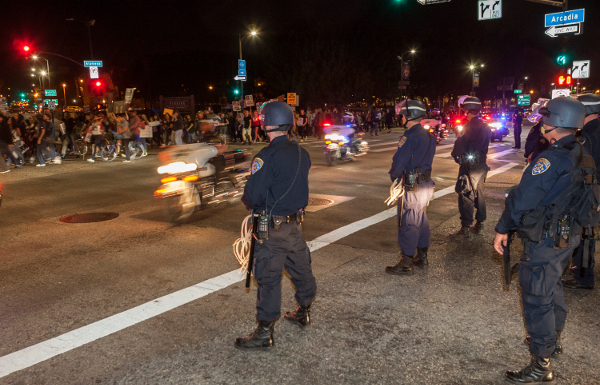 California highway cops block downtown LA freeway ramp, November 26, 2014