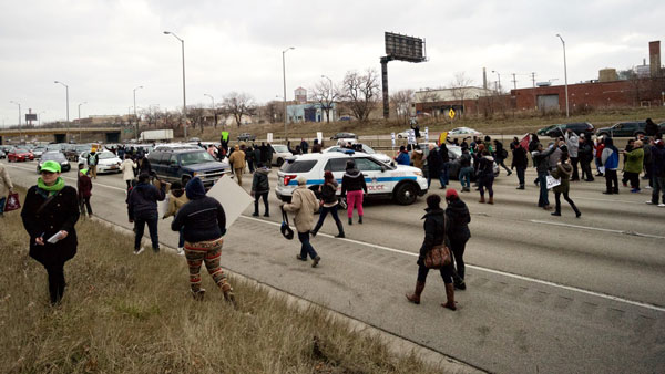 Bringing traffic to a halt on Interstate-290, Chicago, December 6