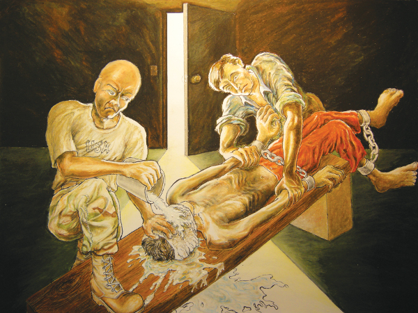 Artwork of waterboarding