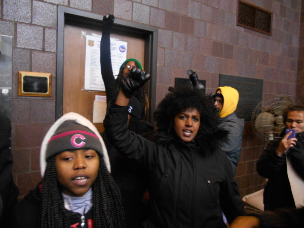 Protesters inside the police station, Cleveland, December 20.