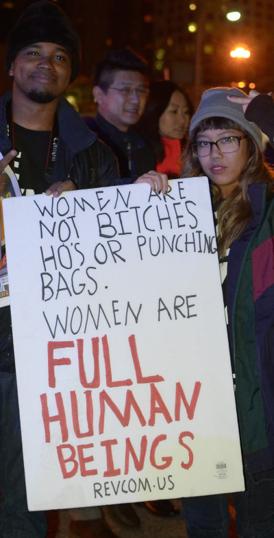 Women are not bitches, ho's, or punching bags; women are full human beings.