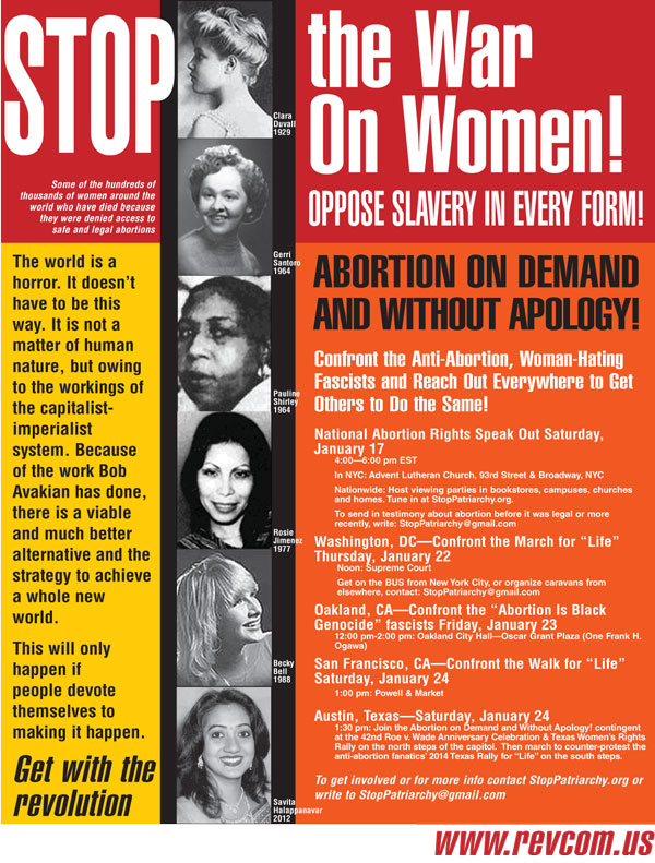 STOP the War on Women! Oppose Slavery in Every Form!