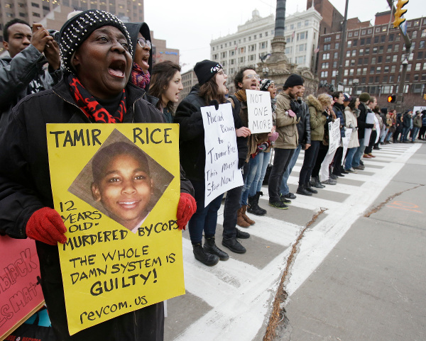 Protesting murder of 12-year-old Tamir Rice in Cleveland, November 25