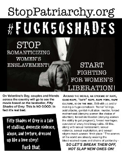 Stop Patriarchy flyer for protests of 50 Shades of Grey