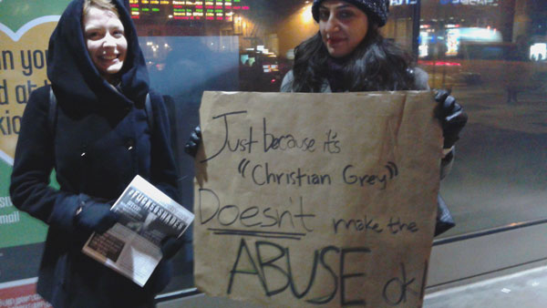 Protesting 50 Shades of Grey, New York, February 12