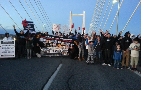 People in Pasco, Washington took over a major four-lane bridge, protesting the police murder of Antonio Zambrano-Montes, February 21.