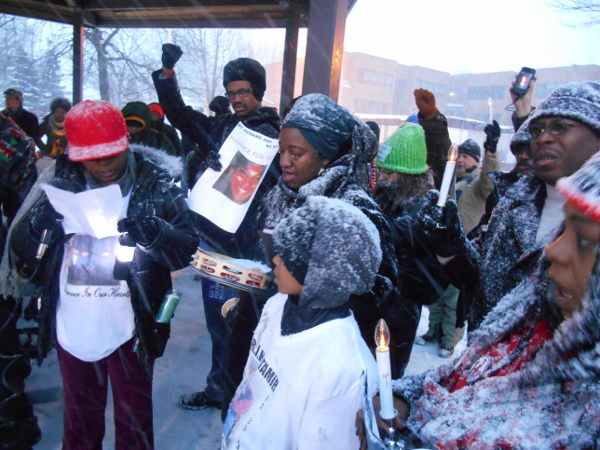 At the scene of the police murder of Tamir Rice, February 22.