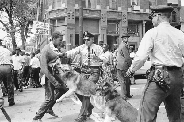 1965: Police use dogs to attack civil rights marchers in Birmingham, Alabama.