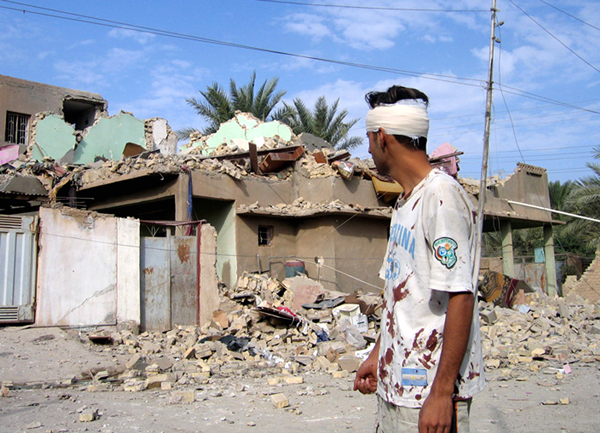 A house destroyed by a U.S. airstrike in Ramadi, Iraq in 2006. Four houses were hit and five people seriously injured.