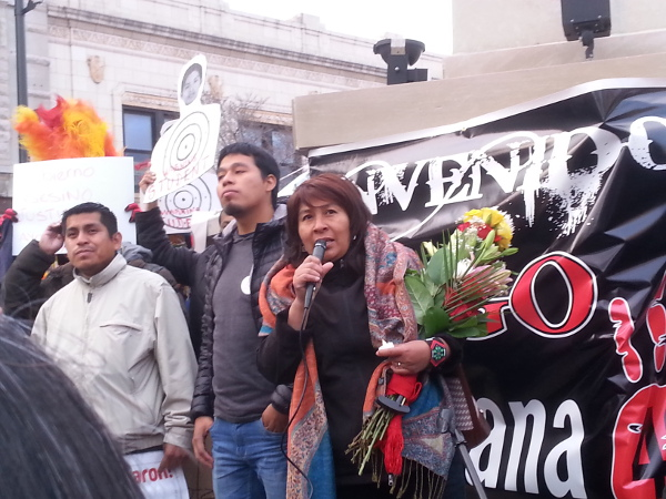 Chicago, April 4, 2015: María de Jesús Tlatempa Bello, mother of the disappeared student Jose Eduardo speaks at a march and rally in Chicago in support of victims of the massacre and kidnapping of 43 Ayotzinapa students in southern Mexico