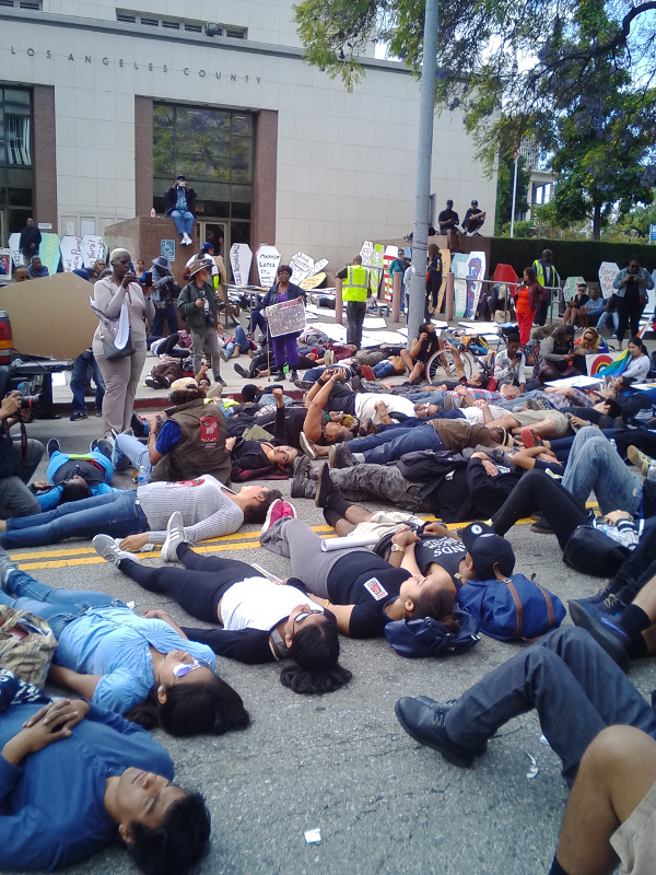 Die-in in front of the LA Board of Supervisors building.