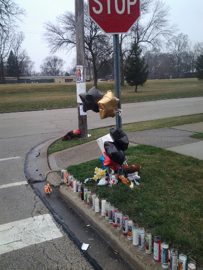 Memorial where Justus Howell was killed by police