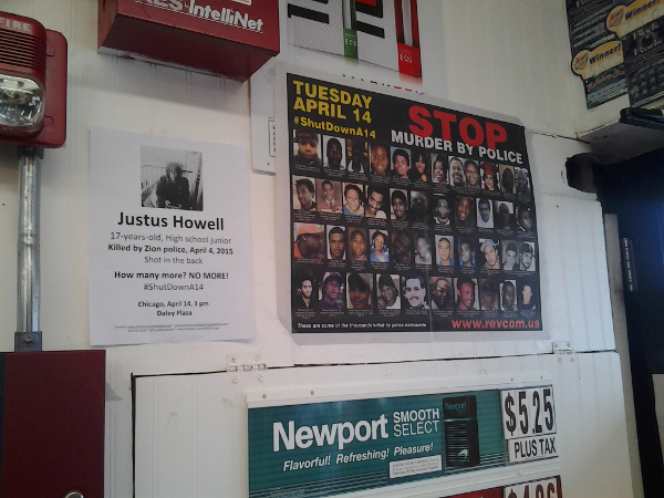 Posters at convenience store near where Justus Howell was murdered by police