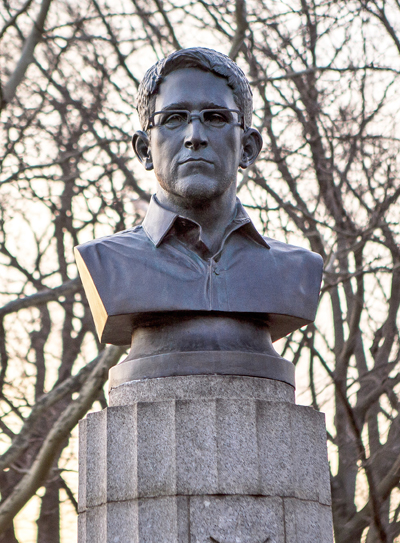 Edward Snowden statue in Fort Greene Park April 6, 2015