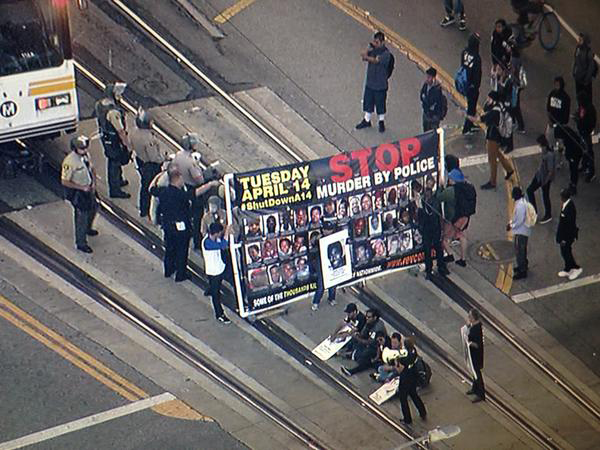 Blocking train in Los Angeles, April 14