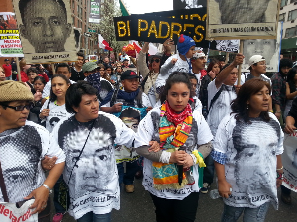 Seven months after 43 students were kidnapped in Ayotzinapa, Mexico, family members, two students who escaped, and one of their professors toured the U.S. as Caravana43, took their demands to an international audience marching to the United Nations, April 26.