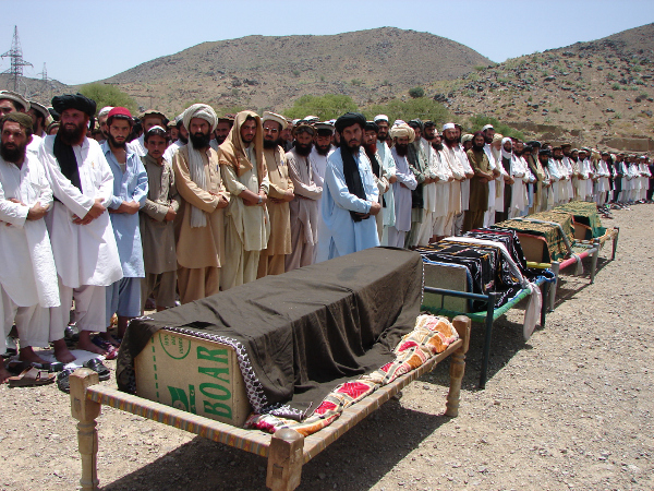 A funeral for civilians killed in 2011 by a U.S. drone attack in Pakistan near the border with Afghanistan.