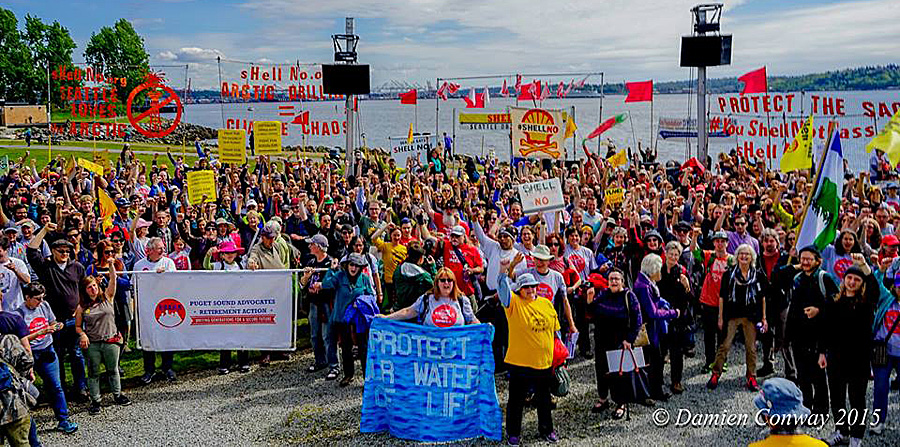 "April 29, an environmental group called ""Shell No"" organized a Seattle protest of the drilling for fossil fuels in the Arctic. (Photo: Damien Conway)"