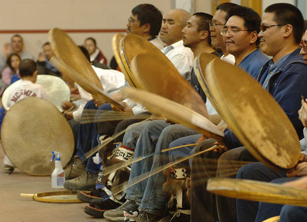 Drummers from the Inupiat people who depend on the sea for their livelihood, now severely threatened by oil drilling. (Photo: Floyd Davidson)