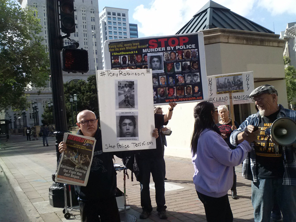 Oakland CA May 13, 2015 protest against cop murderer of Tony Robinson going free