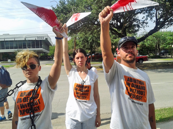 July 2014, Abortion Rights Freedom Ride members in front of Harris County Republican Headquarters in Houston, TX.