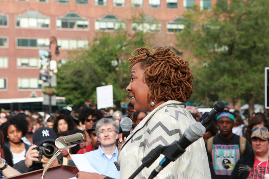 Kimberle Crenshaw speaks to SayHerName gathering at Union Square, New York City, part of nationwide protests against police murder of Black women.
