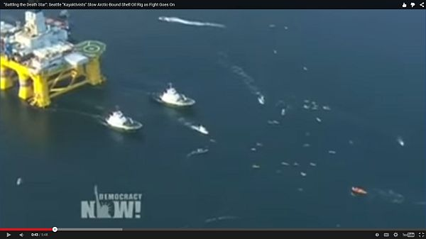 Seattle Kayak activists slow artic bound Shell oil rig