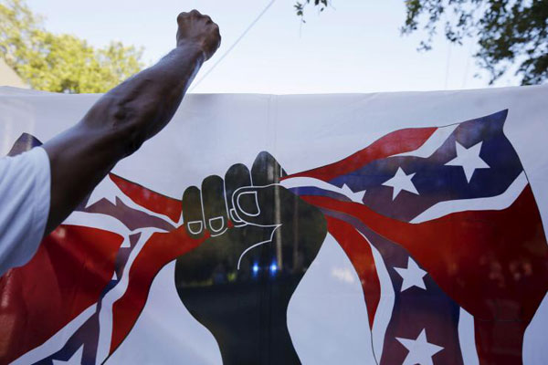 Banner carried in Columbia, South Carolina June 23, 2015