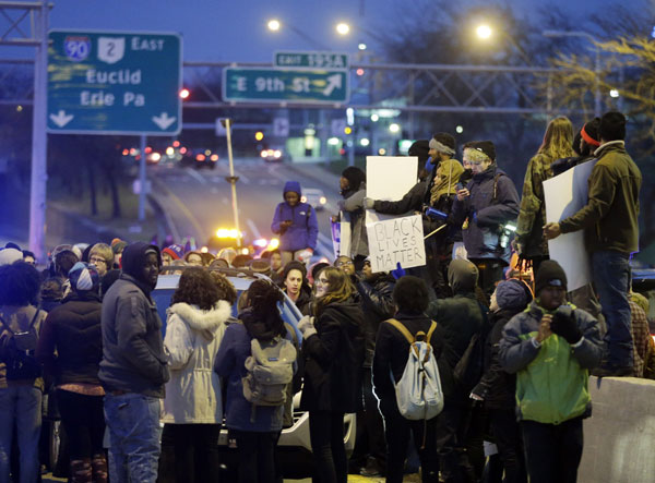 Cleveland, November 25: Blocking the Memorial Shoreway in protest of the police murder of 12-year-old Tamir Rice.