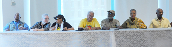 Members of the jury: Lynne Stewart and Ralph Poynter, lynnstewart.org; Pam Africa, disciple of John Africa, Minister of Confrontation, and Chairwoman of International Concerned Family and Friends of Mumia Abu-Jamal; Ingrid Hill, Vice Chair, People's Organization for Progress; Carl Dix, Co-founder of October 22 Coaltion to Stop Police Brutality, Repression and the Criminalization of a Generation, co-founder of Stop Mass Incarceration Network, Revolutionary Communist Party; Efia Nwangaza, Founder and Director of the Malcolm X Center for Self Determination and WMXP 95.5 FM Community Radio in South Carolina; Roger Wareham, December 12th Movement, Human Rights attorney, former political prisoner, one of the attorneys on the Central Park 5 case.