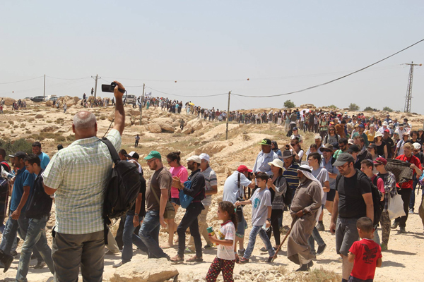 More than 600 people marched in the Palestinian village of Susiya, in the West Bank