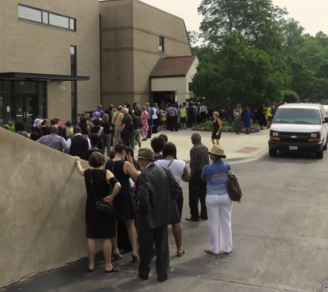 People waiting to go into the church for Sandra Bland's funeral