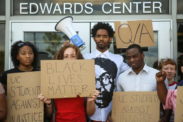 Students and relatives of Samuel Dubose protest his murder by police at the University of Cincinnati