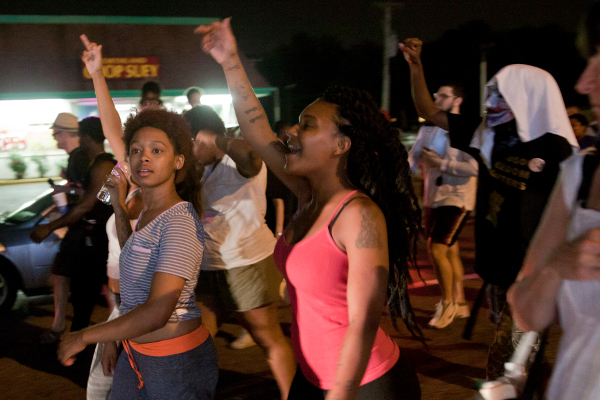 August 8, 2015, marching to Ferguson police station